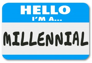 Hello I'm a Millennial words on a nametag or sticker to illustrate a young person in the demographic group interested in mobile technology, texting and social networking